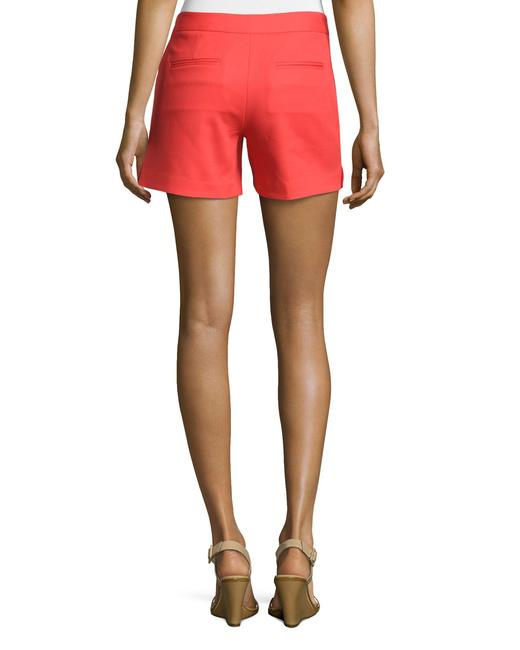 Laundry by Shelli Segal Gold Hardware Zipper Flattering Flat Front Besom Pockets Mini/Short Shorts Red Image 6
