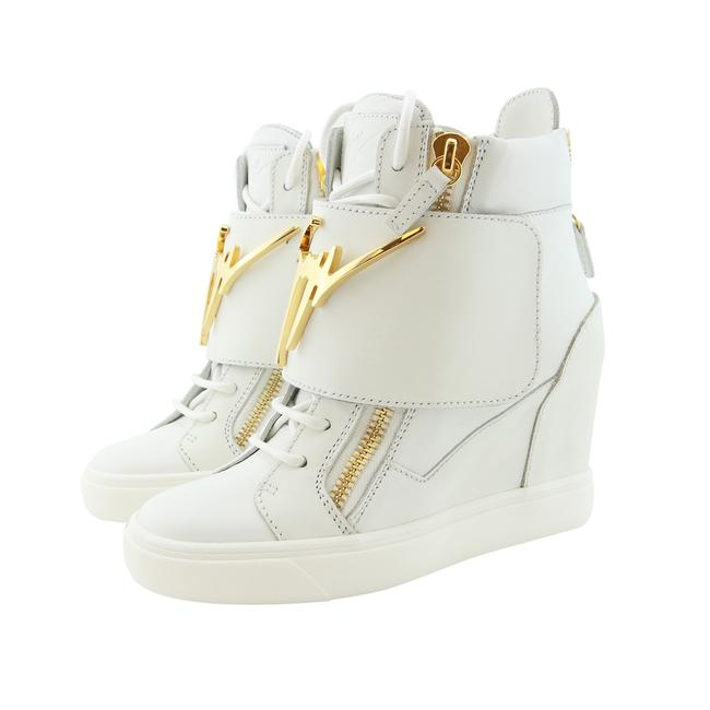 Item - White New Women Logo Plate Strap High-top Wedge Leather Sneakers Size US 6.5 Regular (M, B)