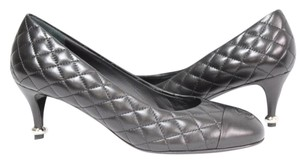 Chanel Cc Quilted Cap Toe Lambskin Leather Black Pumps