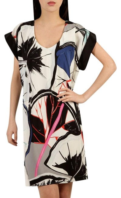 Item - Multi-color Abstract Palm Shift Short Casual Dress Size 4 (S)