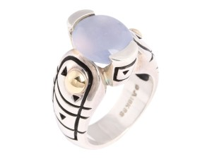 John Atencio Chalcedony, Sterling Silver and 18K Gold Ring
