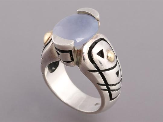 John Atencio Chalcedony, Sterling Silver and 18K Gold Ring Image 3