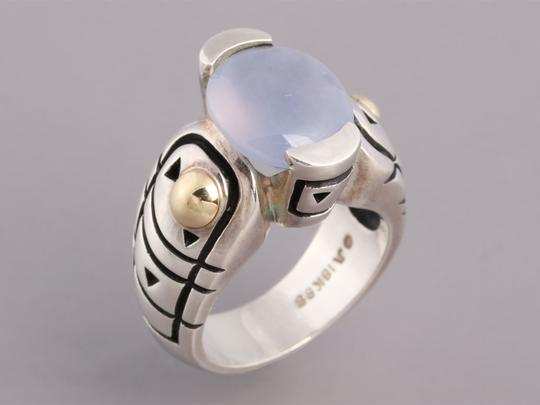 John Atencio Chalcedony, Sterling Silver and 18K Gold Ring Image 4