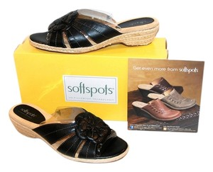 Softspots New In Box Slide Wedge Cushioned Low Heel Leather Flower Black Sandals
