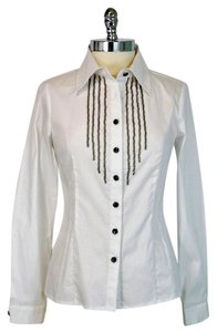 SPANNER Long Sleeve Career Chain Cotton Button Down Shirt White