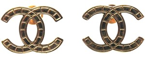 Chanel #14233 Timeless CC textured gold hardware pierced stud earrings