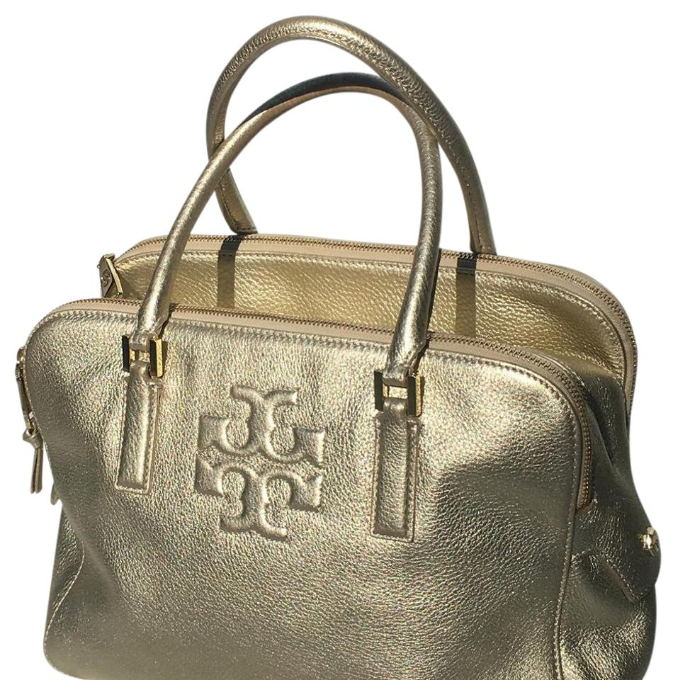 bff82d0e6c2 Tory Burch Thea Metallic - Triple Zip Compartment Satchel Gold ...