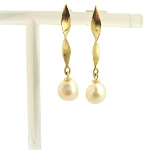 Other Pearl Wind Spinner Drop Earrings- 14k Yellow Gold