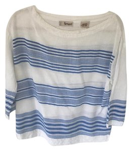 lemlem Liya Kebede Made In Ethiopia For Jcrew Top Blue and White