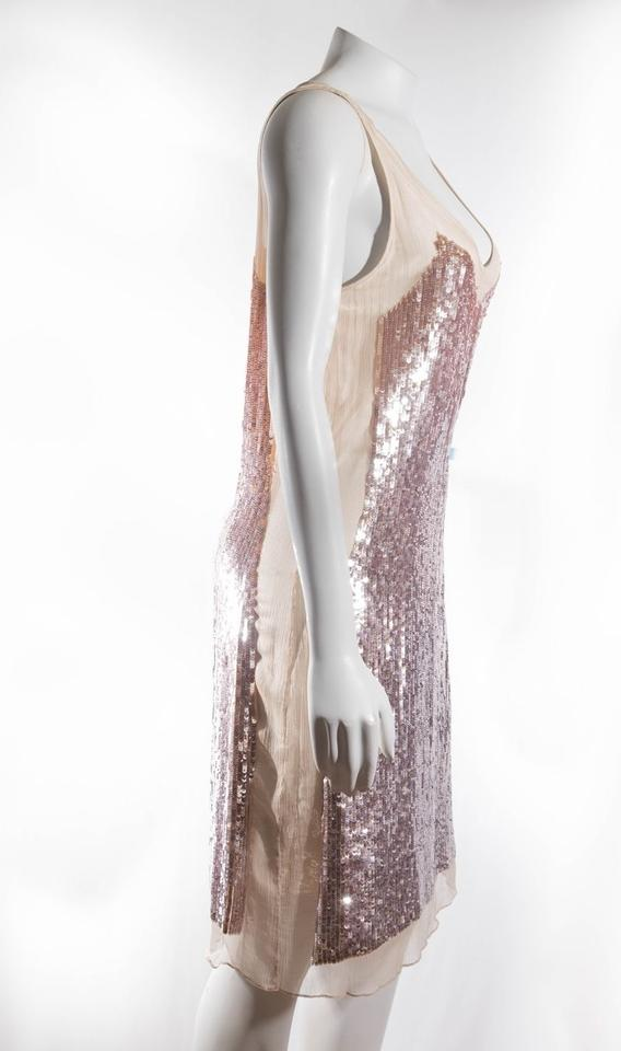 RED Valentino Champagne New 46 M Sequin Nude Sheer Lined Sparkly ...