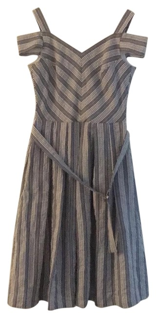 Item - and Blue Stripes Classic Formal Mid-length Work/Office Dress Size 0 (XS)