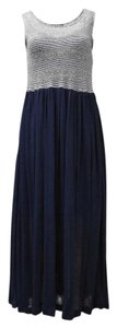 navy/white Maxi Dress by Pepito's Mid Length