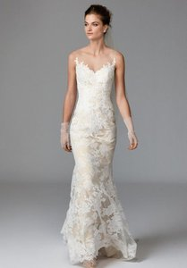 Watters Ivory/Nude Lace Zella 1012b Feminine Wedding Dress Size 8 (M)