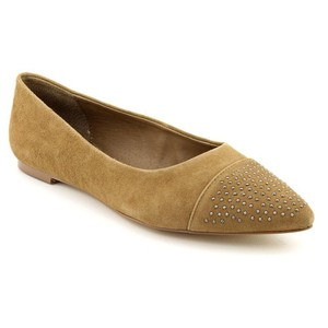 Kelsi Dagger Studded Pointed Toe Suede Tan Flats
