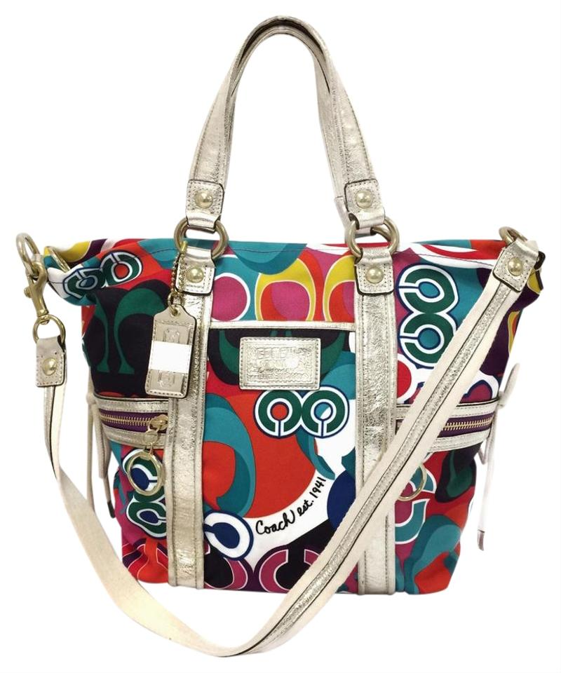 81cd22e73b Coach 13830 Signature Poppy Spotlight Multi Colored Fabric Shoulder ...