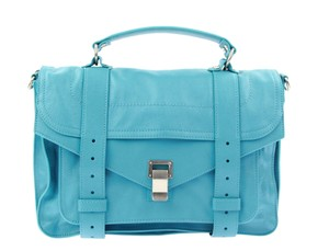 Proenza Schouler Ps1 Medium Turquoise Leather Satchel in Blue