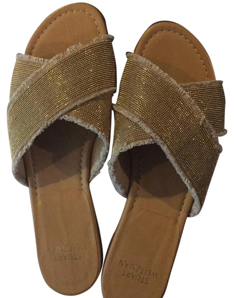 Stuart Weitzman Nude with Gold Edgeway Sandal...metallic and Footbed Fabric Slides On Leather Footbed and Sandals a5953b