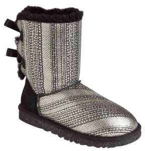 UGG Australia Limited Edition Charm Holiday Crystal Metallic Black and silver Boots