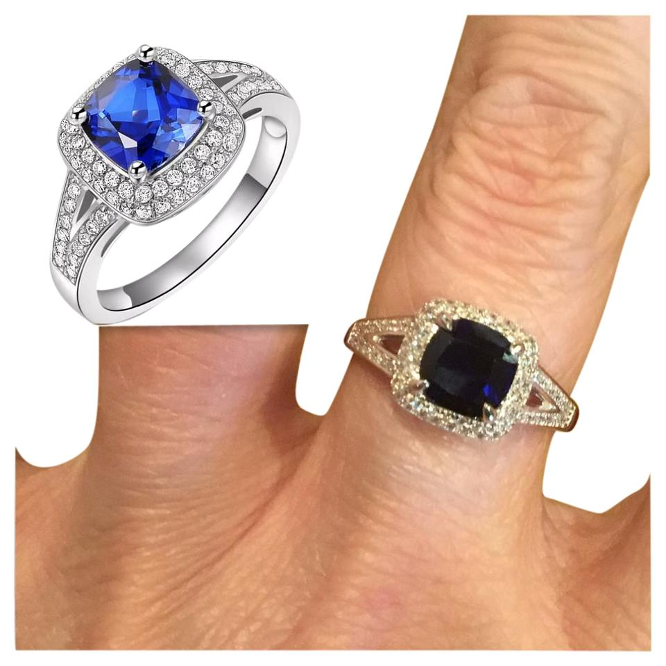 sapphire cut blue i cushion ring new silver tradesy and