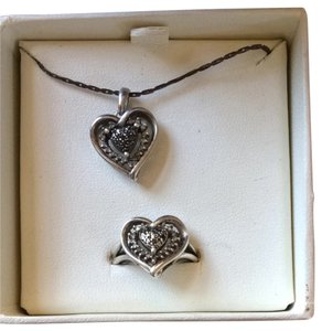 Helzberg Diamonds Matching B&W diamond Heart Ring And Necklace