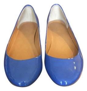 J.Crew Patent Leather Color-blocking Gold Ballet Periwinkle Blue Flats