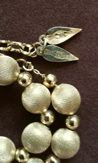 Vintage Whiting & Davis 1940s SIGN Whiting and Davis Etched Gold Metal Bead On Chain Necklace