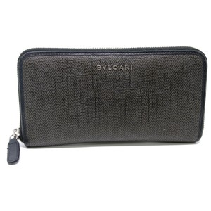 BVLGARI Signature Saffiano Grey Chevron Leather Long Zip Wallet