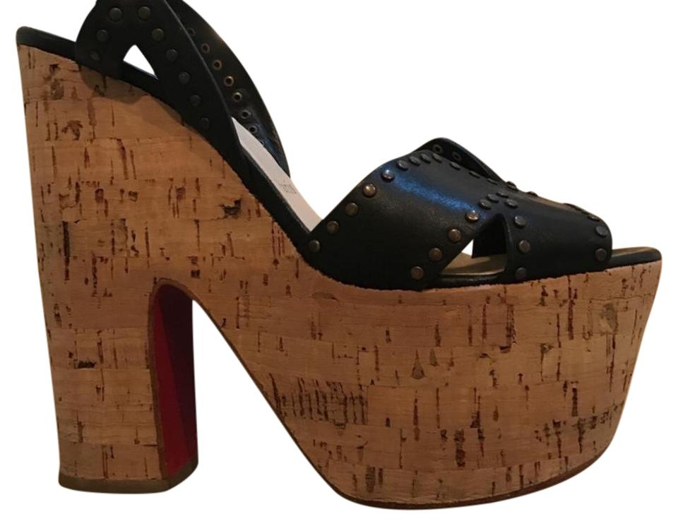 Christian Leather Louboutin Black Cork and Leather Christian Platforms ce6313