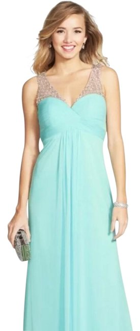 Item - Icy Mint Beaded Ruched Bodice Mesh Long Formal Dress Size 2 (XS)