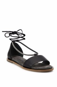 Brunello Cucinelli Ankle Strap Flat Black Sandals