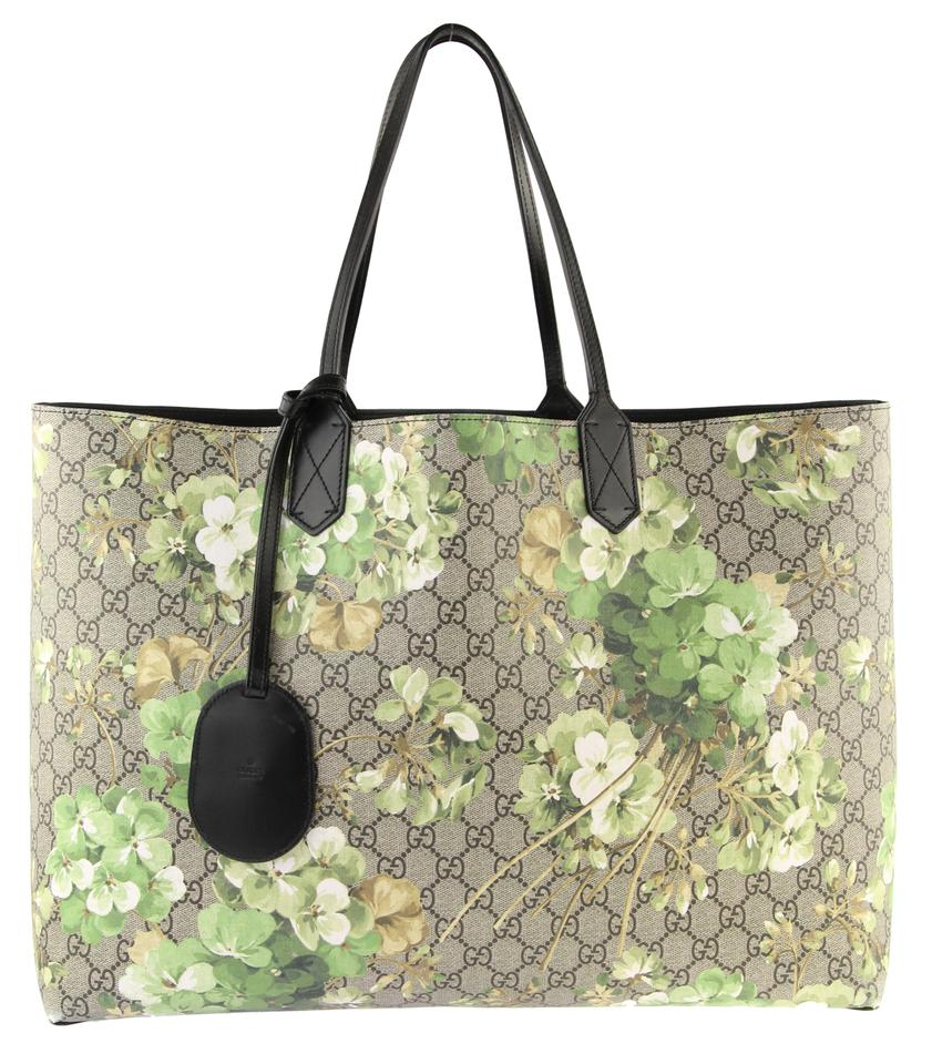0c6166950747 Gucci Large Reversible Green Gg Blooms Canvas Tote - Tradesy