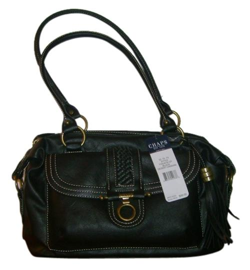 Chaps Leather Tote in black