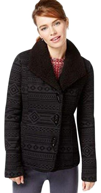 Item - Black/ Grey XS Women's Juniors Geo Print Single Breasted Peacot Black/Grey (Xs Coat Size Petite 2 (XS)