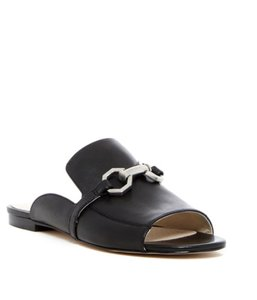 Louise et Cie Open Toe Leather Slip-on Silver Hardware Black Mules