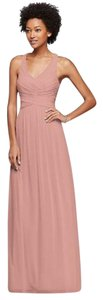 David's Bridal Ballet Mesh Long Bridesmaid Dress With Crisscross Back W10974 Dress