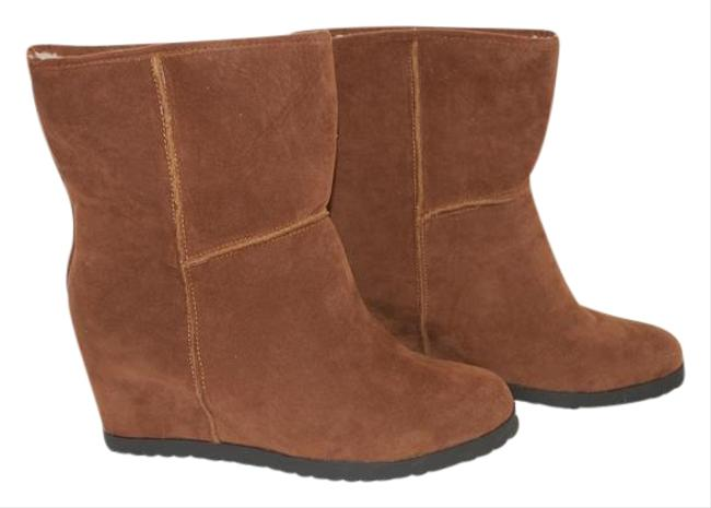 Item - Brown New Faux Suede Wedge Ankle Fleece Lined M Boots/Booties Size US 10 Regular (M, B)