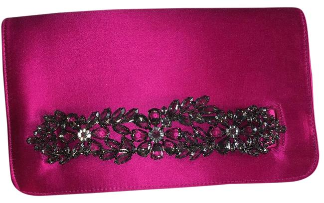 Item - Bcbg Max Azria Evening Hot Pink and Pewter Satin Clutch