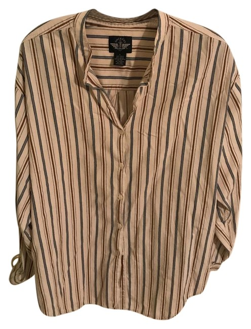 Item - Beige and Blue Striped Button-down Top Size 12 (L)