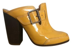 Dries van Noten yellow and brown stack heel Mules