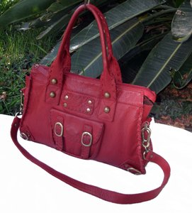 Carla Mancini Leather Day First Laced Satchel in Red