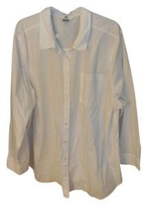 Old Navy Cotton Casual Plus-size Button Down Shirt White