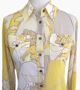 Anne Klein Button Down Shirt Yellow, Brown, Wht