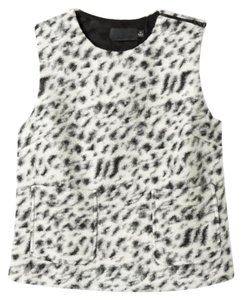 Line & Dot Cropped Wool Blend Sleevless Blazer & Piperlime Zipper Top White/Grey Snow Leopard