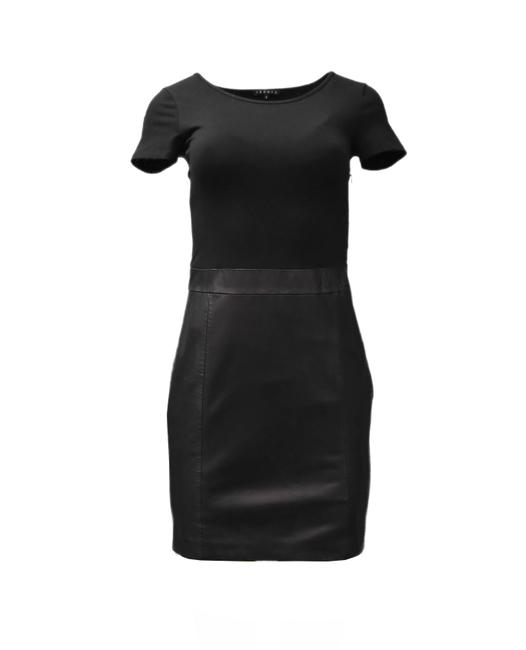 Item - Black Solara Leather Trim Short Night Out Dress Size 0 (XS)