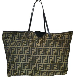 Fendi Zucca Canvas Pouch Tote in Brown