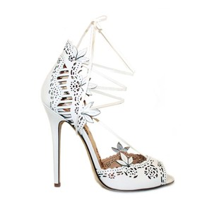 Marchesa White Clara Leather Lace-up Heels In Formal Size US 10.5 Regular (M, B)