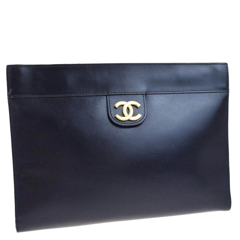 Chanel Black Leather Mademoiselle Clutch From