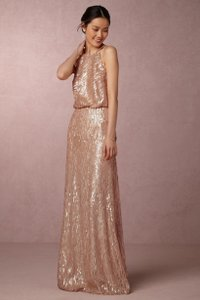 Donna Morgan Rose Quartz Sequin Alana Formal Bridesmaid/Mob Dress Size 4 (S)