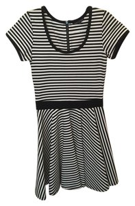 FELICITY & COCO short dress BLACK/ WHITE Stripes Striped Stretch Cocktail on Tradesy