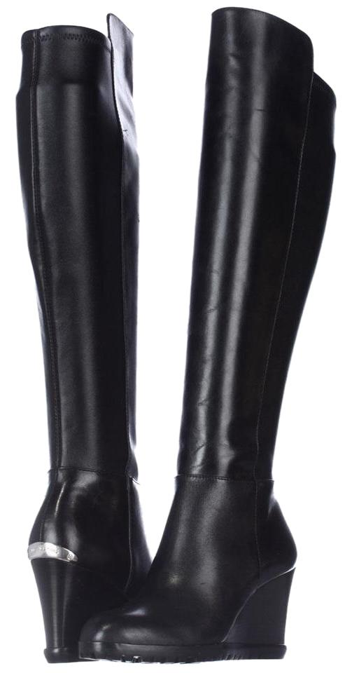 d766827ef141 Michael Kors Black Woods Wedge Tall Display Boots Booties Size US 5 ...